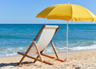 Leżak na plaży, morze